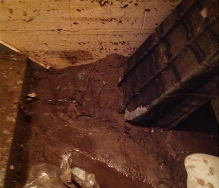 Basement Floods With Water & Mud Before